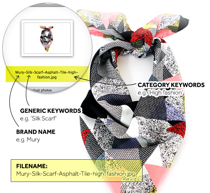 How to tag your product image example Mury silk scarf