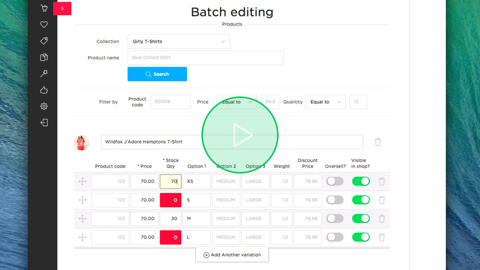 Product-batch-editing-control